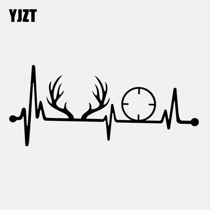 YJZT 17.8CM*7.7CM Deer Rack Antlers Gun Heartbeat Vinyl  Black/Silver Car Sticker C22-1290