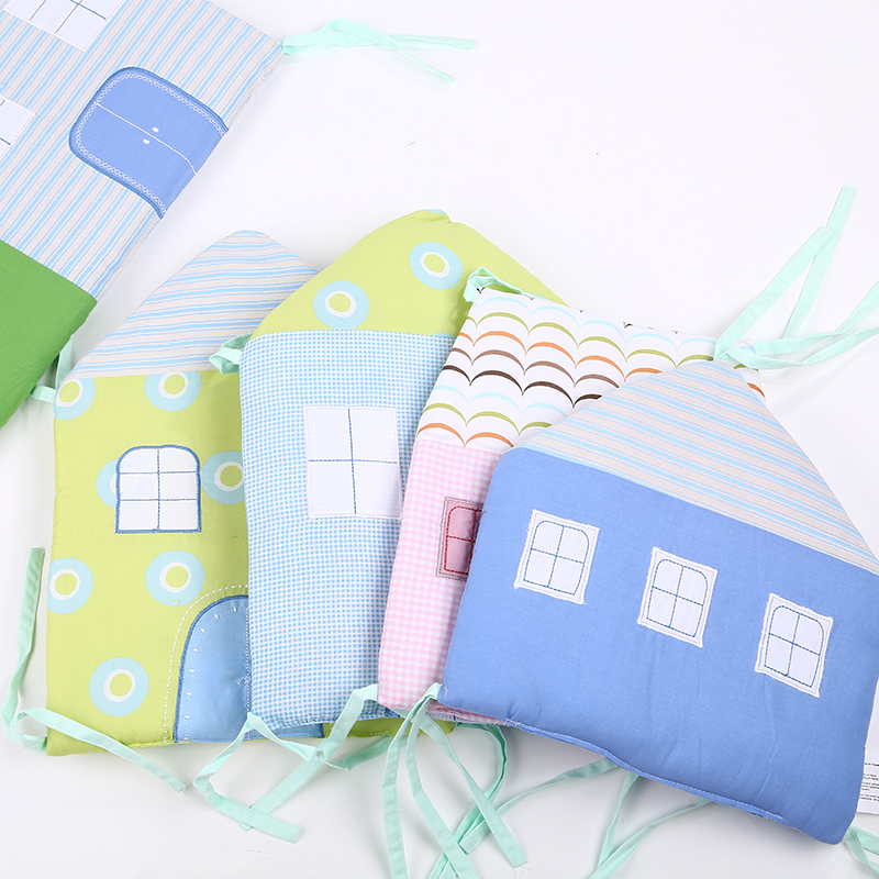 ФОТО 6 Pcs /Sets Cotton Baby Bed Bumper China Embroidery Decals Cartoon Small House Shape Baby Cirb Bumpers Baby Bedding