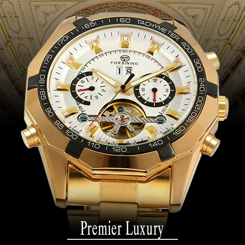 FORSINING Men's Tourbillon Watch Luxury Automatic Bracelet Dress Wristwatch Fantastic Analog Calendar FSG340M4G2 with Gift Box diversity management triple loop learning