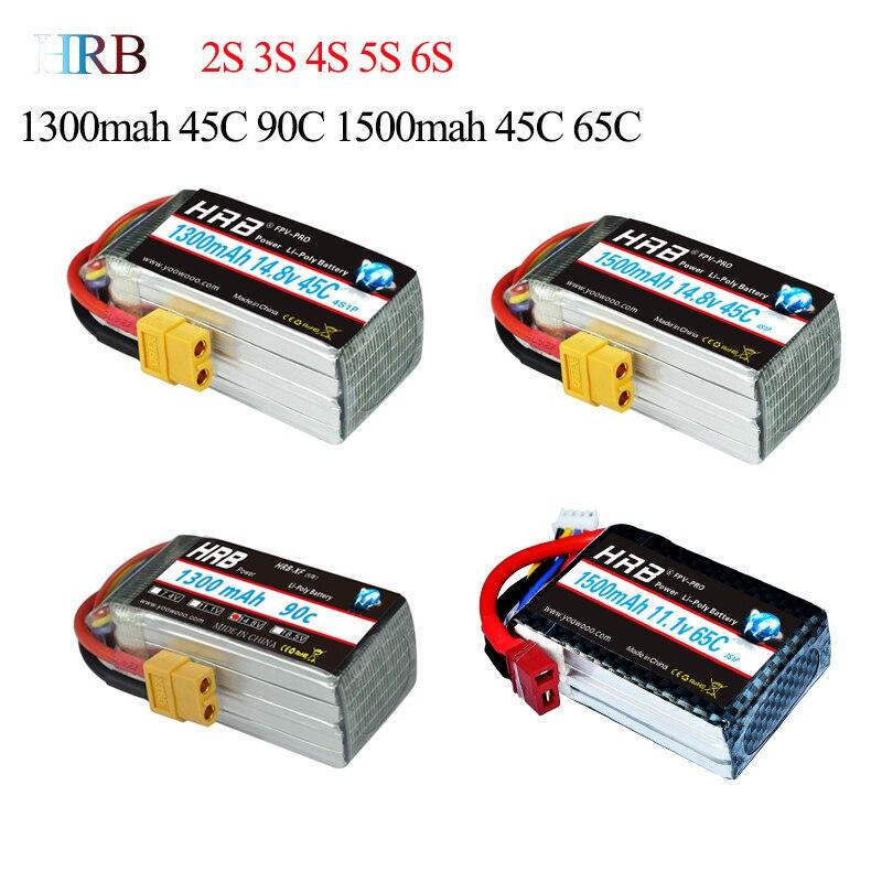 HRB Lipo 1S 2S 3S 4S 5S 6S Battery FPV Racing 1300mah 1500mah 3.7V 7.4V 11.1V 14.8V 18.5V 22.2V 45C 64C 90C High Discharge Rate