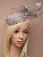 Visón Gris de La Vendimia de SEÑORA Feather fascinator Sinamay Sombrero Mujeres Pinza de Pelo de la Novia Velo de Plumas Sombrero tocado Para la Carrera Del Banquete de Boda