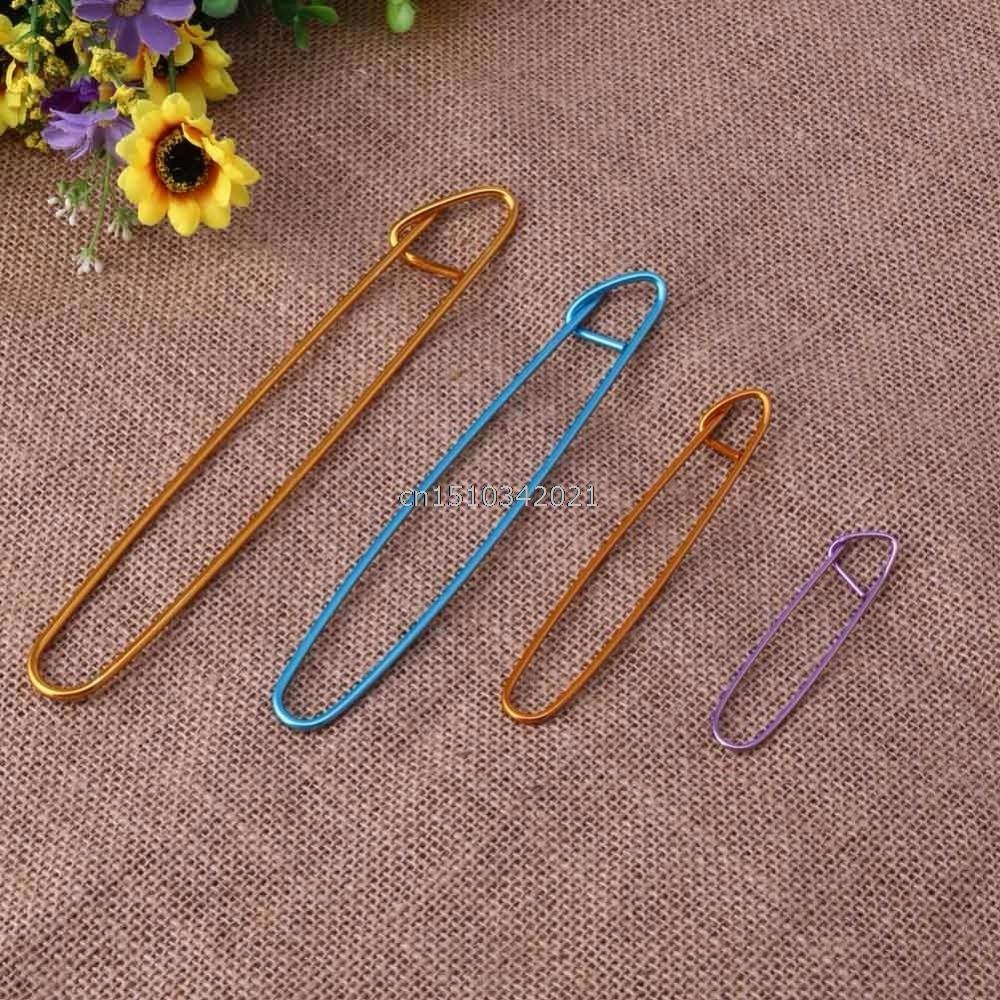 4Pcs Aluminum Knit Knitting Needles Stitch Holders Safety Pins Crochet Hooks