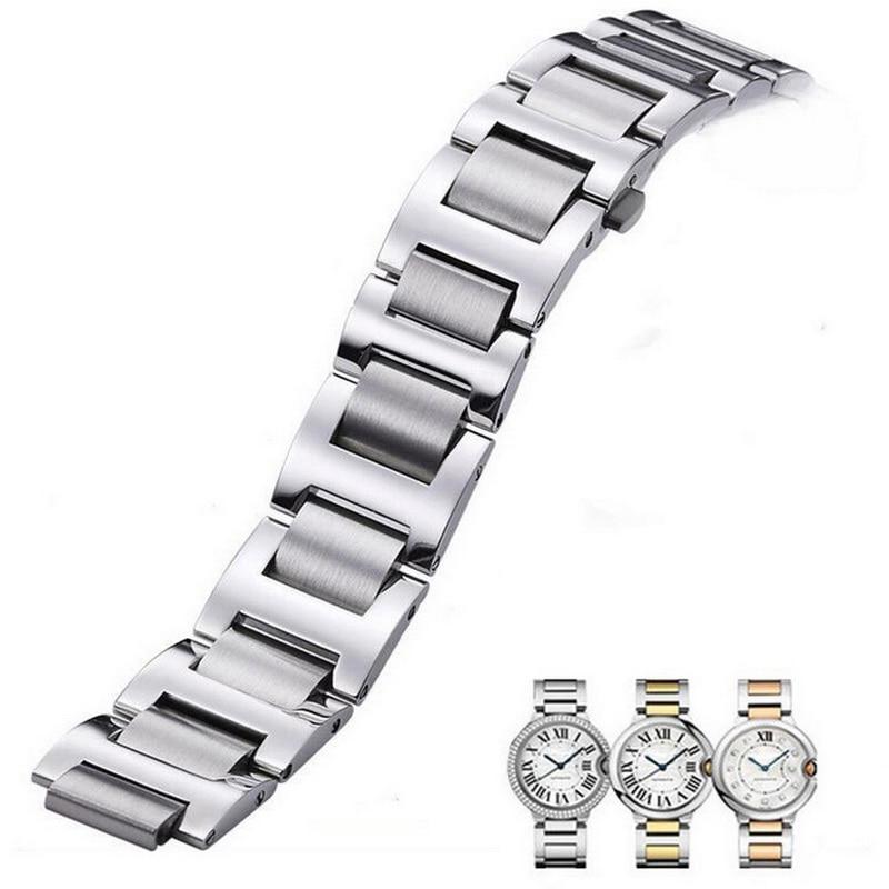 Neway Stainless Steel Watch band For Cartier Ballon Bleu Silver Rose Gold Watch Strap Bracelet Men Women Watchband 9mm 11mm 12mm