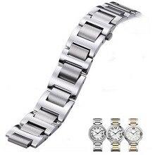 Neway zegarek ze stali nierdzewnej dla Cartier Ballon Bleu srebrna róża złoty zegarek bransoletka z paskiem mężczyzna kobiet Watchband 9mm 11mm 12mm