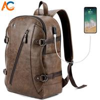 Alena Culian New Men Leather Casual Backpack Bag With Headphone Hole Men's School Backpack External USB Bagpack For Men Travel