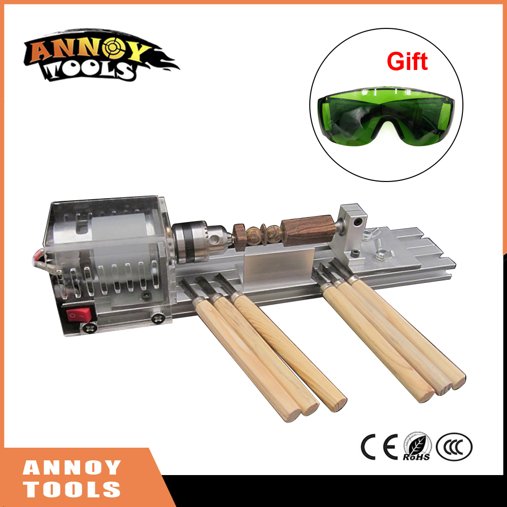 Mini DIY Wood Lathe Machine DIY Woodworking Lathe Polishing Cutting Drill Rotary Tool Standard Set Bench Drill Gift Glasses adjustable double bearing live revolving centre diy for mini lathe machine