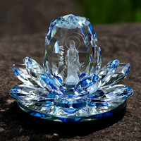 JQJ Crystal Lotus Flower GUANYI Figurines Perfume Bottle Feng shui Car Decorative Glass Craft Scent Machine Flavoring in the car