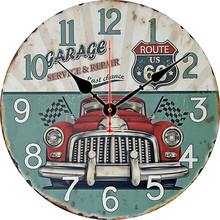 Retro European Simple Wall Clock Wooden American Garden Bar Hotel Sticker 34x34cm