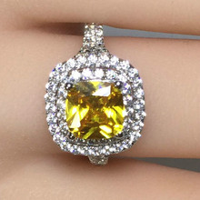 2ct Carat Luxury Round Rings Yellow White CZ Wedding Engagement Ring SONA S925 Sterling Silver Gold Color Women Jewelry
