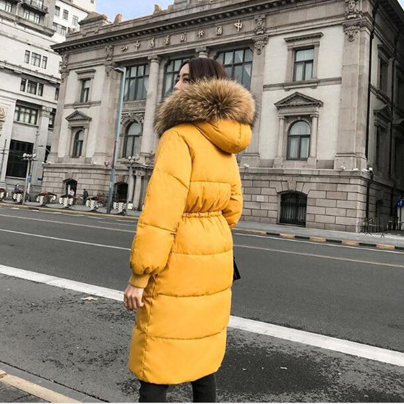 2018 Femmes orange Fourrure À Duvet Solide Couleur Épaissir blanc Col 90 H196 Noir Survêtement Nouveau Hiver Capuchon De Veste Blanc Longue Manteau Canard Réel Parka Lâche dEHqESA