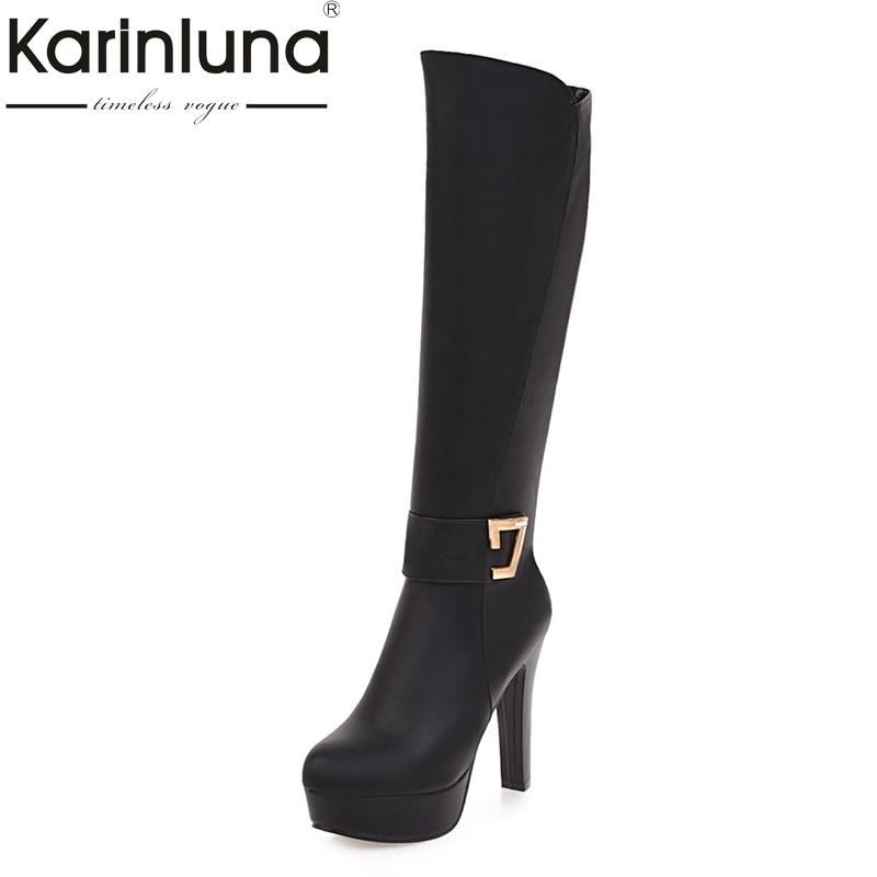 KarinLuna di alta qualità più il formato 32-43 spike tacchi alti stivali alti al ginocchio donna della piattaforma di modo di aggiungere della peluche di inverno stivali scarpe da donna