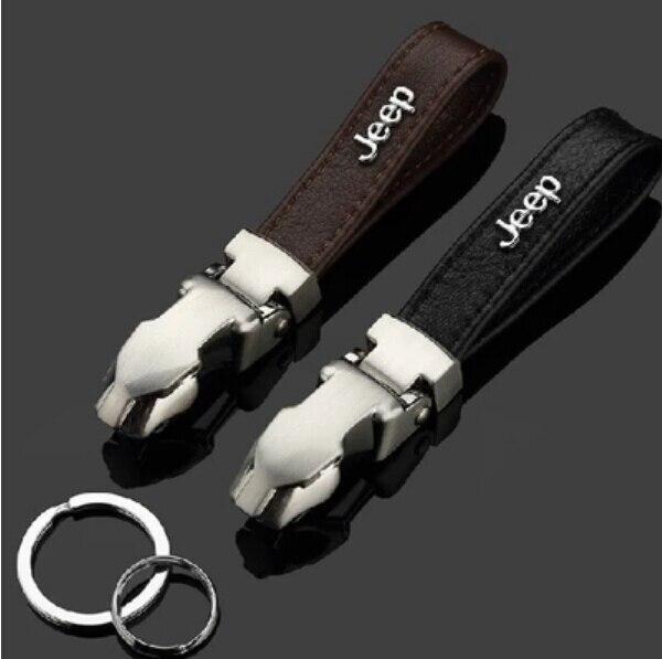 Boutique 3D luxury corium car keychain metal key chain ring FOR Jeep Wrangler JK Grand Cherokee Z6/Men Compass Jacket Patriot ch