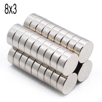 1000pcs 8mm x 3mm 8x3 Strong Round Magnet 8x3 Disc 8*3 Rare Earth Neodymium NEW Art Craft Connection