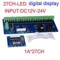 Бесплатная доставка 27CH dmx512 декодер, 27 канал dmx512 контроллер, 9 групп RGB выход, каждый канал макс 3A, LED DMX drive