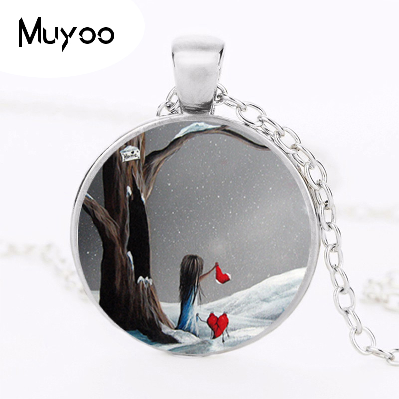 2017 New Lttile Gril Pendant Broken Heart Jewelry Lonely Christmas Pendants Glass Cabochon Necklace Gift Christmas Handmade HZ1