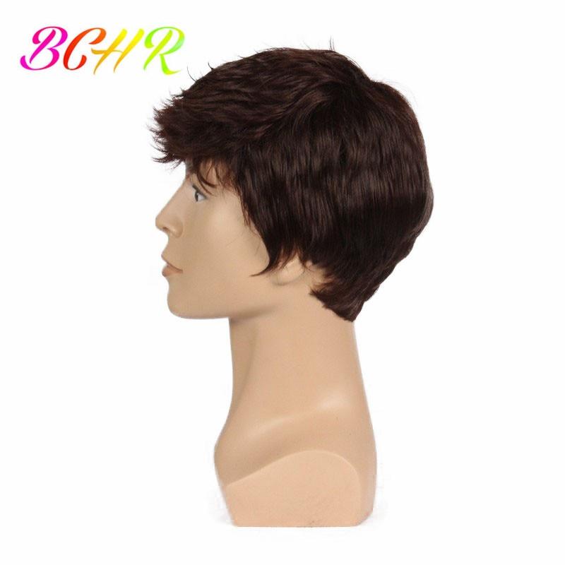 BCHR 6 tums kort sträcka full syntetisk peruk för män manlig hår - Syntetiskt hår - Foto 3