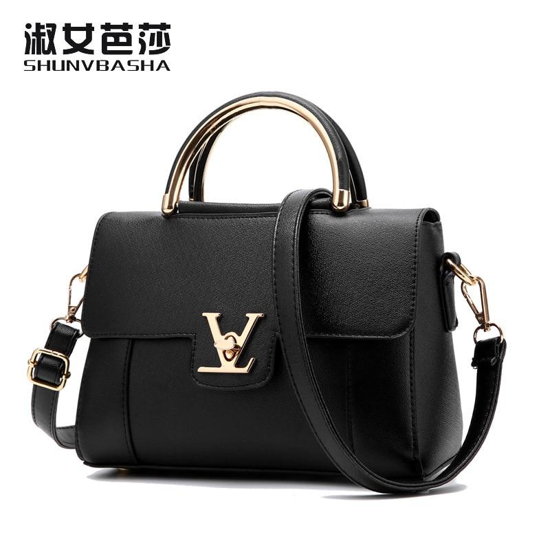 fake designer bags V Women's Luxury Leather Clutch Bag Ladies Handbags Brand Women Messenger Bags Sac A Main Femme handle(China)