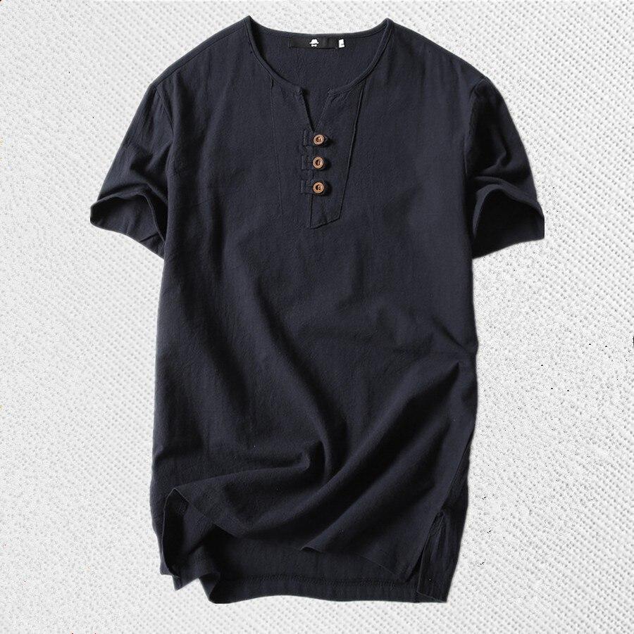 8XL 6XL Nouveau 2018 marque Lin t-shirt Hommes décontracté Solide Tees lin haut en coton t-shirt Pour Hommes V-cou Manches Courtes Boutons tshirt