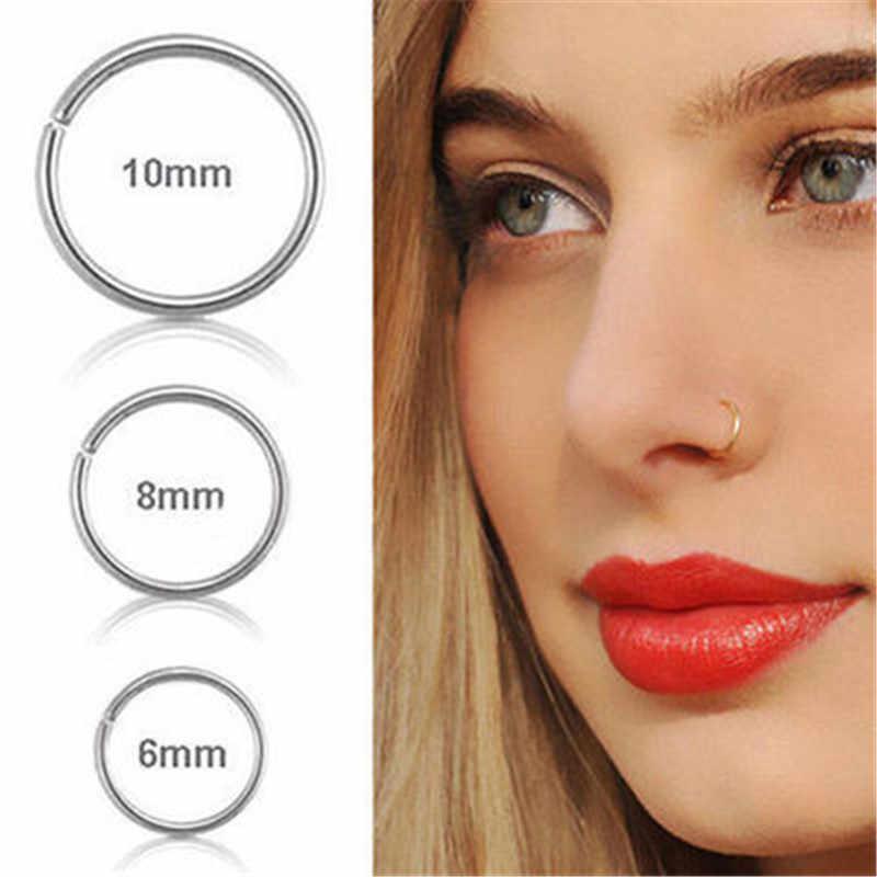 1PC אופנה פלדה חלקה צירים האף חישוק טבעת מחץ Clicker אוזן סחוס Tragus Helix פירסינג מקסים גוף תכשיטי 20g