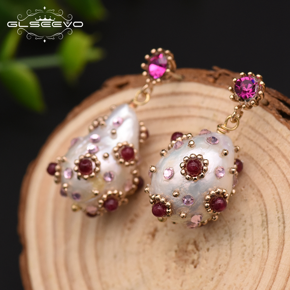 GLSEEVO Natural Fresh Water Baroque Pearl Drop Earrings With Red Zircon Dangle Earrings For Women Wedding Luxury Jewelry GE0296
