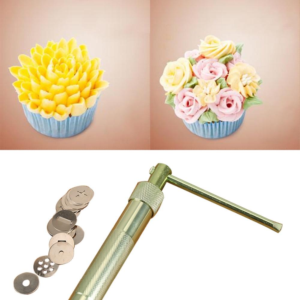 Stainless Steel Sugar Paste Extruder Craft Gun Tips Craft Fondant Cake Sculpture Polymer Clay Tools Random Color