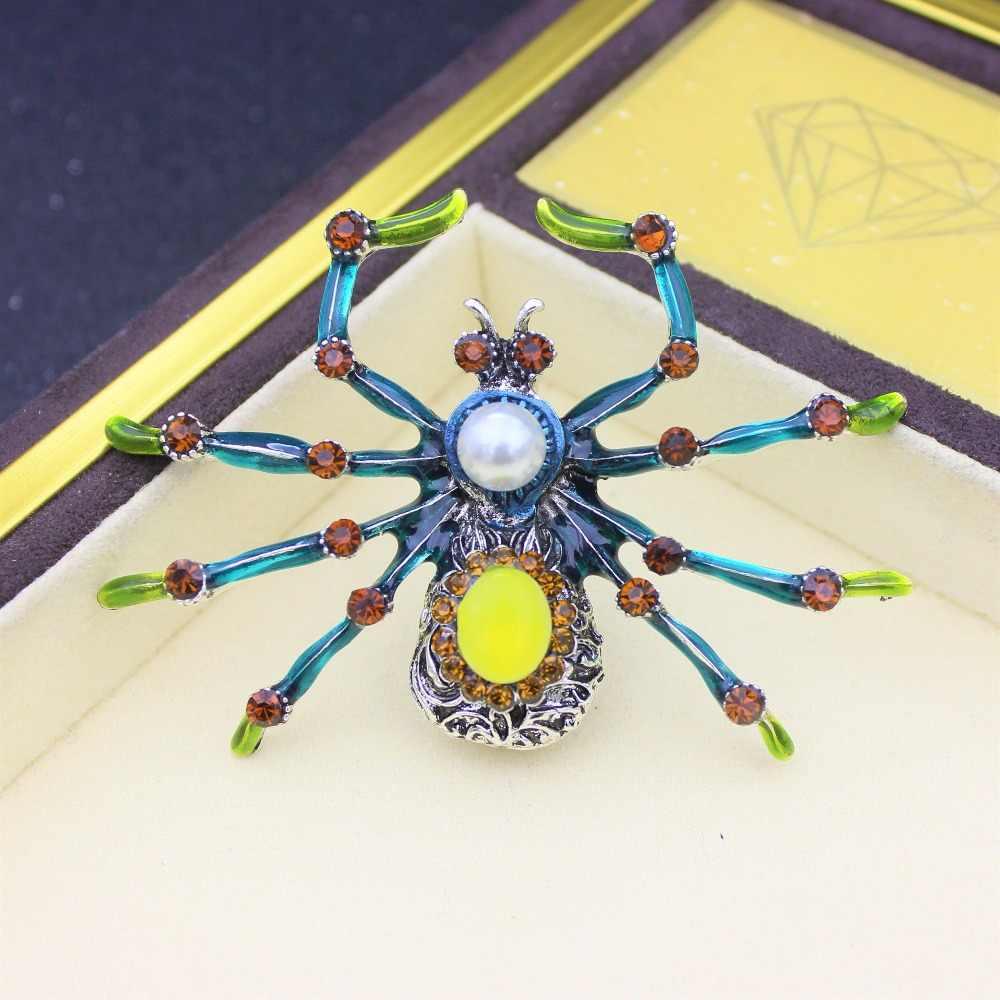 Spider Serangga Besar Bros untuk Wanita Aksesoris Besar Logam Berlian Imitasi Enamel Hadiah Enamel Bros Kerah Pin Pria Perhiasan