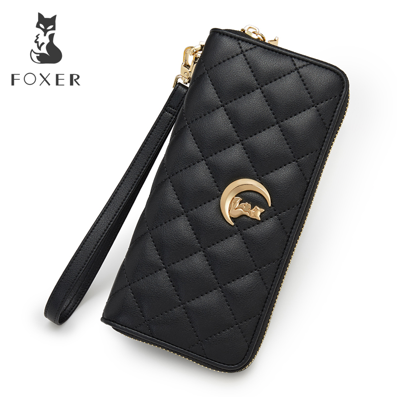 FOXER Women Leather Long Wallet Cowhide Classic Clutch Bags Fashion High Quality Cellphone Purse With Wrist Strap Female Wallets designer fashion women short wallet genuine leather 2 fold cowhide soft leather ladies wallets purse unisex high quality famous