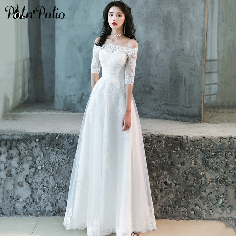 Elegant White Lace   Prom     Dress   with Half-sleeve Sexy Off the Shoulder Open Back Long Tulle Evening Party   Dress   Formal Gowns New