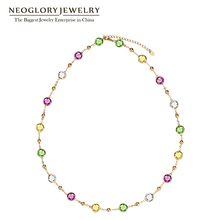 Neoglory MADE WITH SWAROVSKI ELEMENTS Crystals Light Yellow Choker Chain Maxi Long Necklaces For Women Valentine's Day Gifts