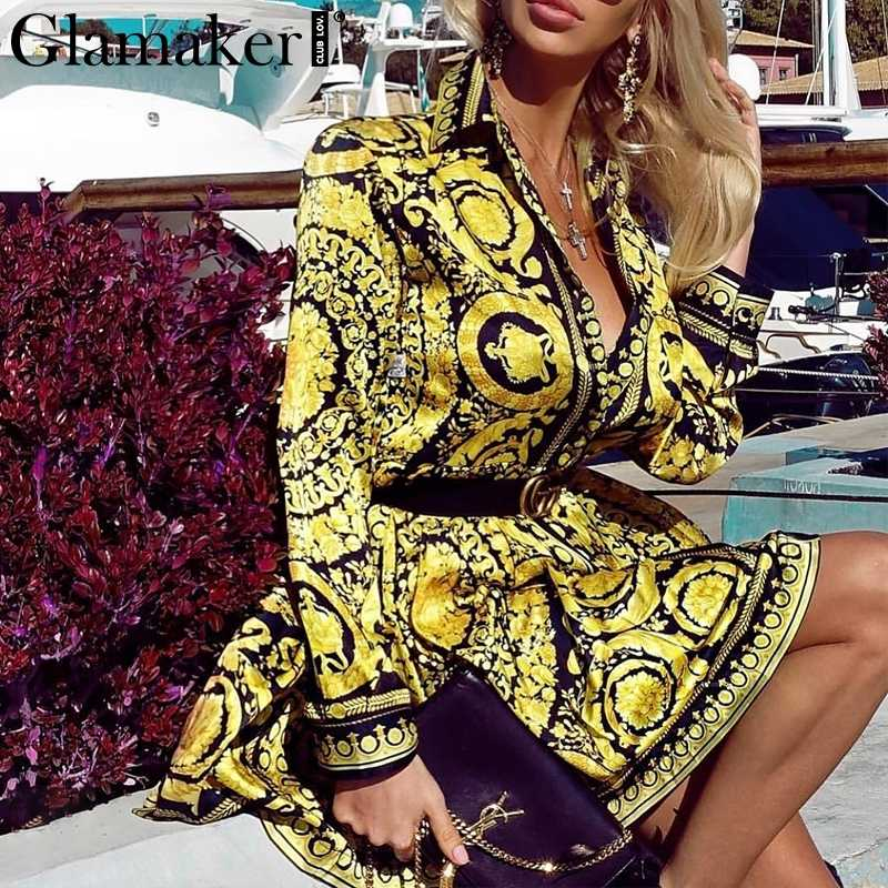 Glamaker Sexy paisley vintage print gold dress Women v neck short blouse dress autumn elegant party club dress large size robe