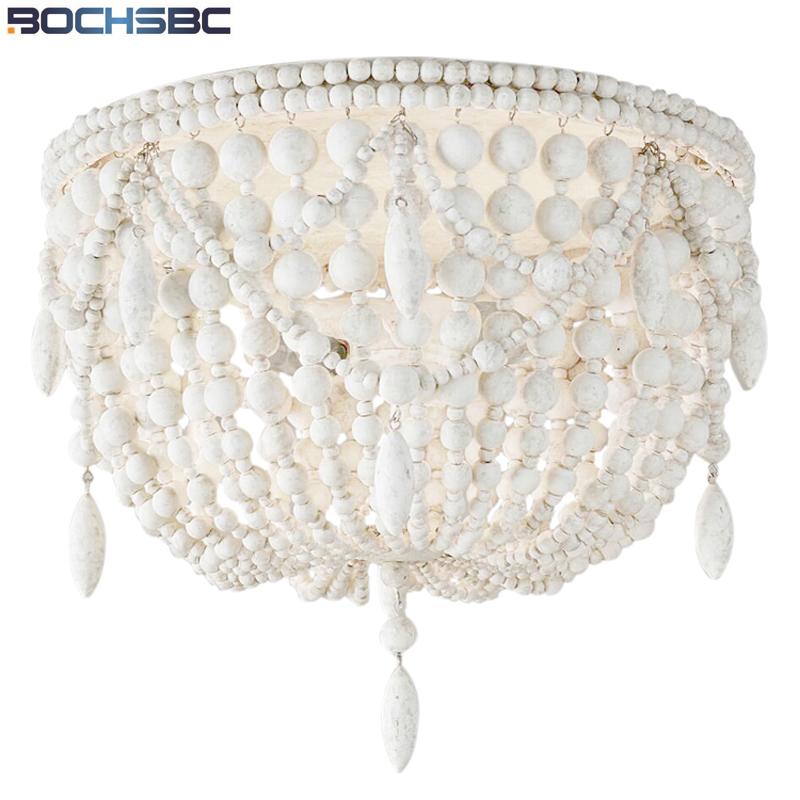 BOCHSBC American Country Retro Ceiling Lights Wood Beads Hand-woven Led Lights French Bedroom Study Room Decorative Light Lamp