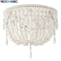 Bochsbc американский кантри ретро Потолочные светильники дерево Бусины ручной светодиодные фонари французский Спальня Кабинет декоративные