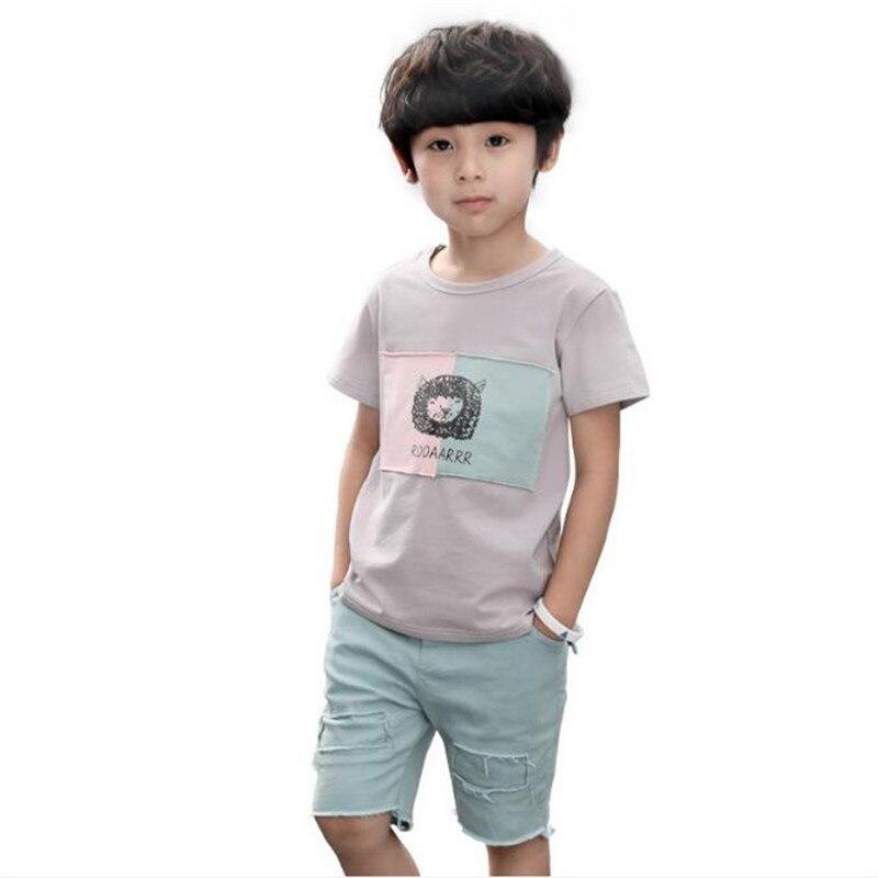 Summer Boys Clothing Set 2pcs/set Clothes Sets For Teen Boy Lion T-shirt+pants Children Sports Suits 3-14T Kids Tracksuit
