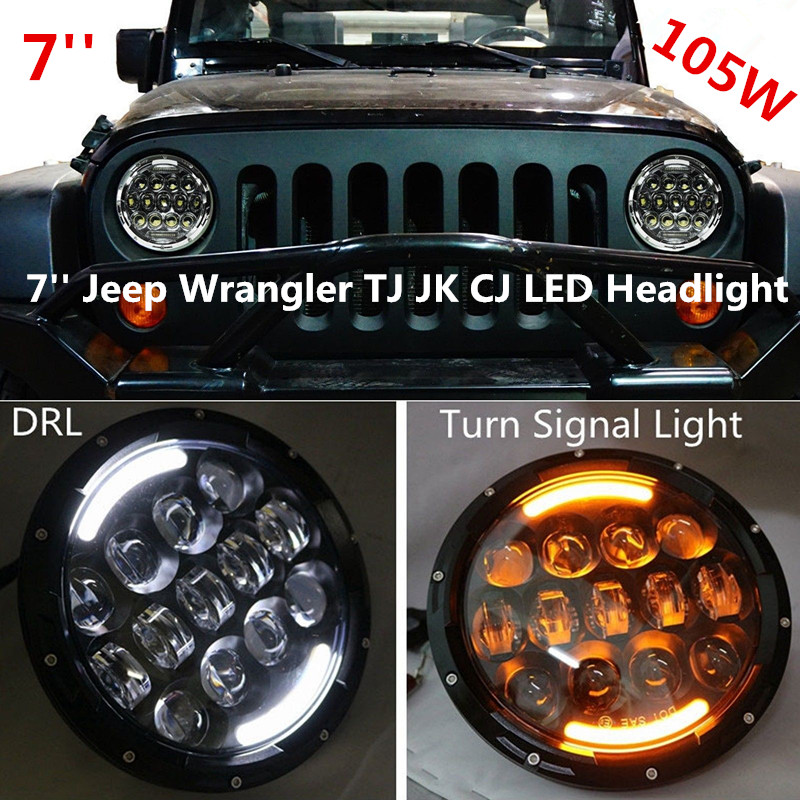 Pair 105W 7 inch led headlight for Jeep JK Wrangler TJ Offroad led driving light 7'' high low beam led car headlight pair 105w 7 inch led headlight for jeep