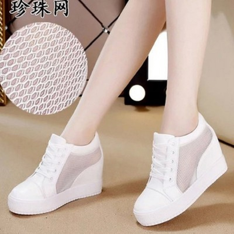 2018 Spring New Casual Shoes Thick-soled White Shoes Korean Muffin bottom Hollow breathable shoes female 2017 new spring imported leather men s shoes white eather shoes breathable sneaker fashion men casual shoes