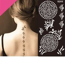 1pc Temporary Airbrush Henna Stencil for Women Body Painting Waterproof Life of Tree Pattern Tattoo Stencil Leg Arm Tool D2(China)