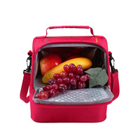 KinNet Thermal Bag New Style Of Fall 2016 Double Layers Insulated Cooler Bag Red Oxford Shoulder