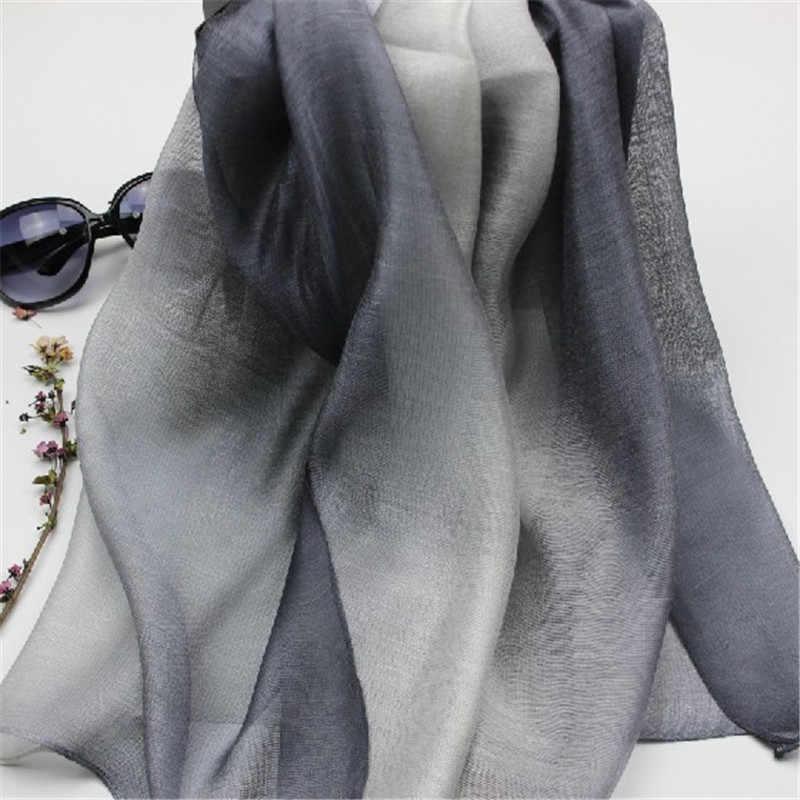 LaMaxaPa 2018 di Nuovo Modo di Estate/Autunno Solido Gradiente Delle Donne/Della Signora Reale 100% Sciarpa di Seta Scialli Sottili e Avvolgere lungo Femminile Echarpe
