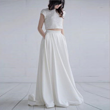 53d260b915 Elegant White Plus Size Wedding Satin Solid Long Skirts High Waist Fashion  Runway Custom Pleated Maxi