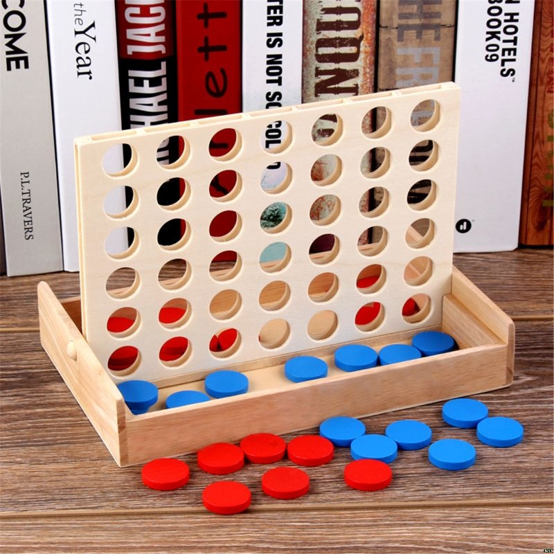 4 In A Row. Four In A Row Wooden Game, Line Up 4, Classic Family Toy, Board Game For Kids And Family Fun