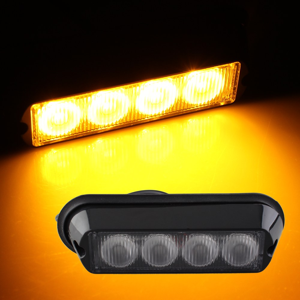 Qook 4W High Power 4 LED Waterproof Car Truck Emergency Strobe Flash Light Amber  цена