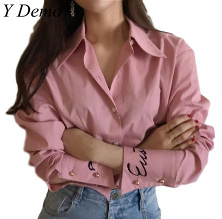 2018 Chic Handsome Cuff Letter Embroidery Womens Shirt Elegant Brief Pins Female Blouse