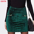 OOTN LDBSQ003 fashion cotton velvet skirts solid green empire mini skirt women high waist pencil bodycon skirts 2017 spring new