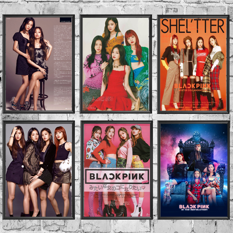 K-pop Black Pink Posters Good Quality Painting Coated Poster White Paper For Home Bar Wall Decor