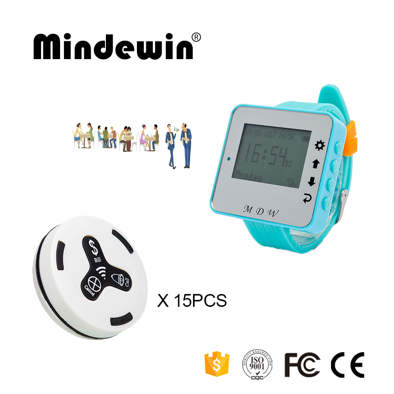 433MHz Queue Wireless Calling System 15PCS Table Call Button M-K-3 + 1PCS Watch Pager M-W-1 Restaurant Management System mindewin restaurant wireless paging system 433mhz pager 12pcs table call button m k 1 and 2pcs wrist watch pager m w 1