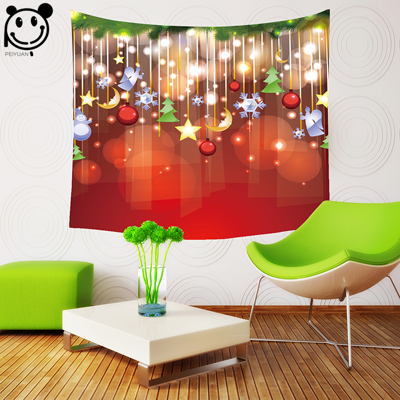 PEIYUAN Christmas Led Light Wall Hanging Tapestry Polyester Fabric Digital Print Blanket Table Cloth Throw Home Decor Tapestry