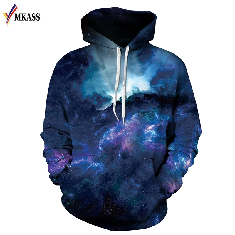 New Fashion Space Galaxy Hoodies Men/Women Sweatshirts 3d Print Blue Sea Waves Thin Tracksuits Tops Pullovers ...