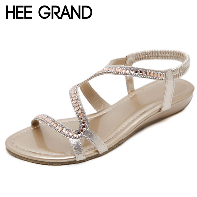 HEE GRAND Gold Gladiator Wedges Sandals Summer Faux Crystal Glitter Casual  Platform Shoes Woman Slip On Flats Size 35-42 XWZ4913 775019e18f4e