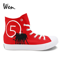 Wen Red High Top Design Hand Painted Custom Shoes Fifth Harmony Canvas Man Shoes Woman Girl