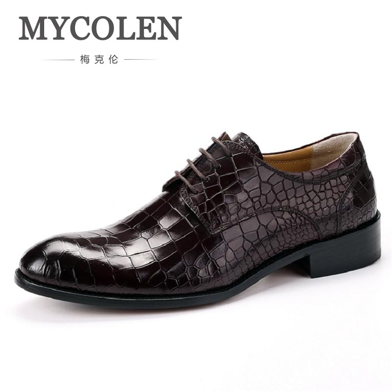 MYCOLEN Fashion Handmade Classic Luxury Men Oxford Shoes Genuine Leather Casual Crocodile Print Men Shoes For Wedding hot sale mens italian style flat shoes genuine leather handmade men casual flats top quality oxford shoes men leather shoes